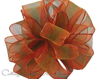 "Wired Ribbon, 1 1/2""  Copper Rusty Orange, Green Ombre Sheer - THREE YARDS - ""Spice World"" Fall, Thanksgiving, Wire Edged Ribbon"
