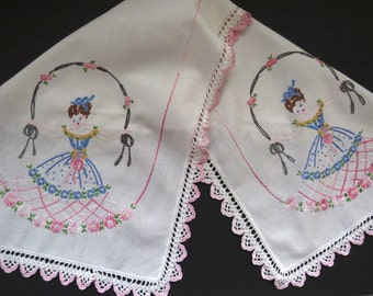 Vintage Hand Embroidered Dresser Scarf  White Pink Crochet Trim Southern Belle Lady Daisies French Knots Vintage Linens Table Runner