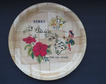 Hawaii Souvenir  Bamboo Tray - Hawaiian Island Chain - Hibiscus Plumeria Hula Girl - Aloha - The 50th State Serving Tray - Collectible