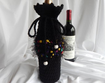 Wine Bottle Cover Crochet Cozy - Black with Bright Fuzzy Fur