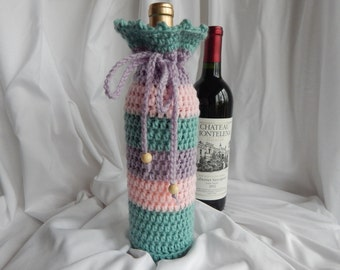 Wine Bottle Cover - Crochet Wine Cozy - Pink, Green & Purple with Wood Beads