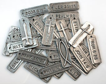 DiY! PRe-STaMPeD Bible VerseTag pendants | TAGS ONLY! | Choose from 25 beloved scriptures | fine acid-free pewter | BULK