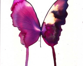 """magenta black white gold  butterfly 8 X 10"""" original watercolour painting"""