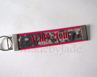 Army Mom / Pink / Flat Key Fob / Made by Jade