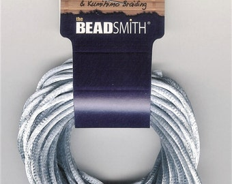 3mm Pale Blue Gray Silk Cord, 3mm Grey Rattail, Kumihimo Cord, 6Yard, Pale Gray Satin Cord, Chinese Knotting Cord, 3mm Pale Gray Blue