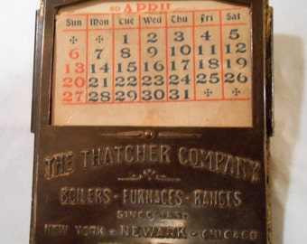 Vintage  Advertising The Thatcher Co. Tin Paper Clip Calendar New York Newark Chicago Boilers Furnaces Ranges