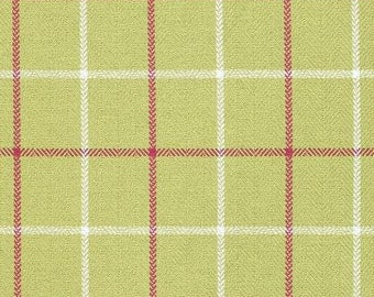 Laurence Plaid in apple green.  A pair of flat lined panels; 2-48W  X 83 L.  An earthy feel heringbone  plaid adds warmth to your cozy room.