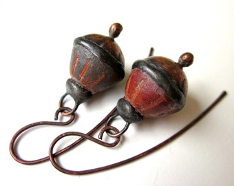 Doggerel - primitive weathered tribal shabby gray red terracotta ceramic art beads, hollow textured copper, & soldered black metal earrings