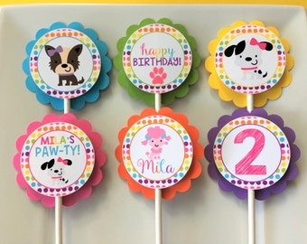 Girl Puppy Dog Birthday Party Personalized Cupcake Toppers - Party Decorations - Party Supplies - Custom Cupcake Toppers - Set of 12