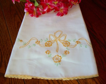 Embroidered Pillowcase Vintage Bed Linens Crochet Trim Floral Embroidery