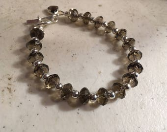 Brown Bracelet - Smoky Quartz Jewelry - Gemstone Jewellery - Sterling Silver - Triangle Charm