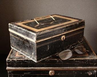Black cash box,black tin, metal storage box