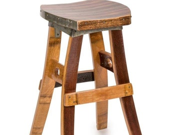 WIne Barrel Swivel Barstool (No Back