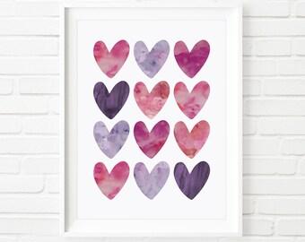kids prints, purple hearts print, watercolour, kids prints, Scandinavian art, children's print, nursery decor, kids decor, kids printable
