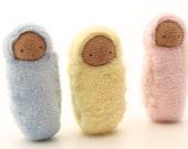 Small bunting dolls, waldorf baby, Easter basket, peanut baby, biracial doll PSG2