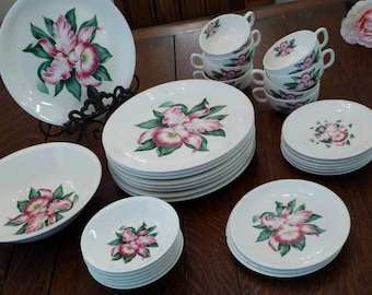 Modern Orchid by Paden City Pottery Dish Set, Pink Orchid Dish Set Paden City, Mid Century Orchid Dishes