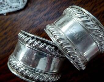 TWO Gorham Sterling Silver Napkin Rings Monogrammed, 2 Sterling Silver Gorham Napking Rings (Emily & Jess) Monogram