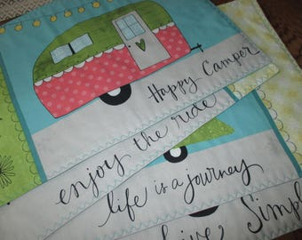 ready to ship set of 4 On the Road camper camping RV placemats reversible