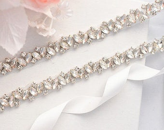 SALE SOLANGE Wedding Belt, Bridal Belt, Sash Belt, Crystal Rhinestones, wedding belt sash