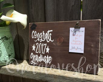 Congrats 2017 graduate| graduate wood photo| graduation gift| graduation wood sign| graduation photo holder| graduate wood sign| graduation