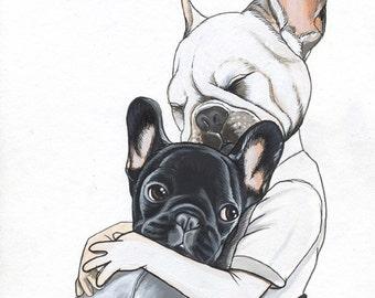 Original French Bulldog Drawing / A4 - size / framed