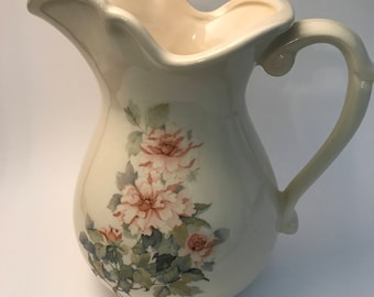 Vintage Pitcher Cream Color with Pink Flowers USA