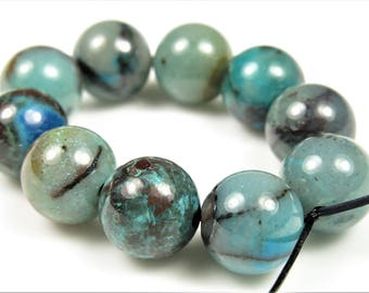 Quality Hybrid Stone of Chrysocolla / Azurite / Cuprite / Malachite / Quartz Round Beads - 10 mm - 10 beads - B6867