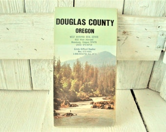 Vintage Oregon map Douglas County Southern folded highways roads cities 1979