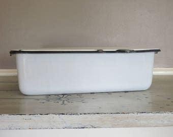 Enamel Refrigerator Box with Lid Black and White Enamelware Enamel Bread Box Farmhouse Enamelware