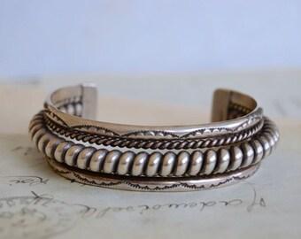 Sterling Navajo Cuff Bracelet - Signed TAHE