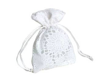 Party Favor Bags White Lace Jewelry Pouch 10 pcs