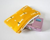 Novelty sausage dog animal dachshund gadget padded travel camera mini make up pouch print in mustard yellow and white.