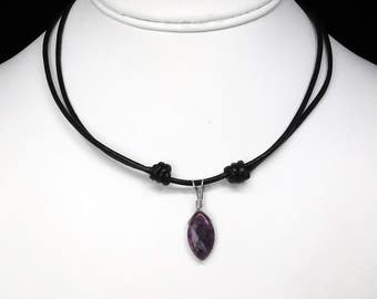Sugilite Pendant in Silver on an Adjustable Leather Cord