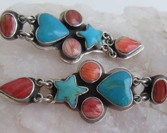 Federico Jimenez Sterling Star Heart Turquoise Spiny Oyster Teardrop Dangle Earrings