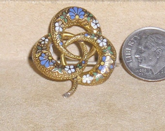 Antique Unsigned 14K Gold And Enamel Flower Pin Brooch Vintage 1890 Jewelry 2056