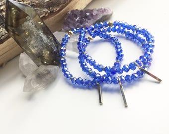 Cobalt + Gold Crystal beaded bracelets