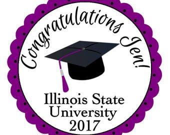 Class of 2017, Graduation Stickers, Mortarboard Graduation Cap, School Colors, Party Favor Labels, Graduation Party Favor, 24 STICKERS (483)