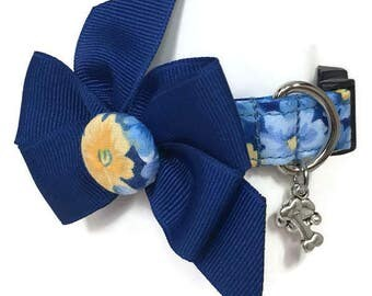 Blue and Yellow Floral Dog Collar size Extra Small