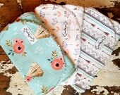 Baby Girl Burp Cloths - Desert Collection Teepees, Bloom, Arrows - Set of 3 - Aqua Mint, Coral, Black