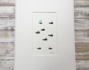 Pebble Art seascape with whales and boat by Sharon Nowlan matted or framed 12 by 16