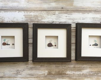 Set of three  5 by 5 seabird seaglass and pebble pictures by sharon nowlan custom made per order