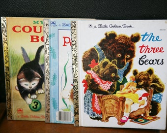 Vintage Little Golden Books Lot of 3, The Three Bears, The Tale of Peter Rabbit, My First Counting Book