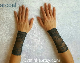 CHARCOAL LACE GLOVES   Lace Accessories   Sexy Lace Cuffs   Fingerless Gloves   Coachella 2017   Goth Gloves   Lace Fingerless Gloves