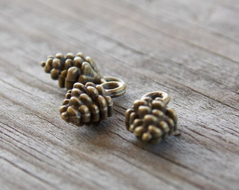 20 Bronze Pinecone Charms 13mm