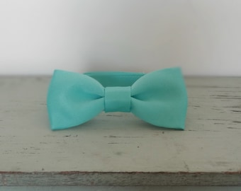 Aqua Newborn Baby Bow Tie Photo Prop, Child Satin Bow Tie with Velcro Closure, Any size, Made To Order