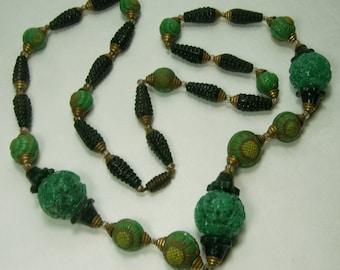 Czech Art Deco Geometric Green Glass Necklace Max Neiger Enamel Beads 1920s