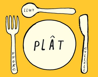 PRE-ORDER Kids Welsh Plat Fforc Cyllell Llwy Plate Fork Knife Spoon Yellow Unisex Melamine Placemat and Coaster Set