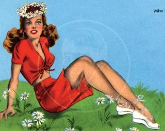 Miss Behave - 10x16 Giclée Canvas Print of Vintage Pinup Postcard