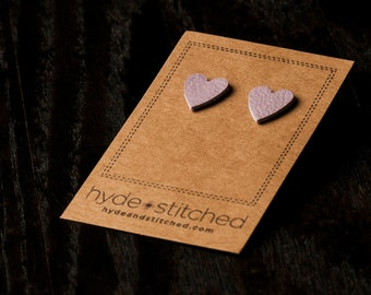 Lavender Love: heart shaped leather earring, pair of leather heart stud earrings, handmade leather jewelry
