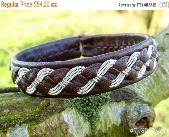 FENRISWOLF Sami Viking Leather Bracelet with Pewter Braid on Antique Brown Reindeer - Handmade Norse Lapland Womens and Mens Bracelet